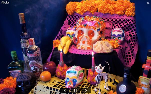 ofrenda dia de muertos flickr calaverita bebidas flores frutas