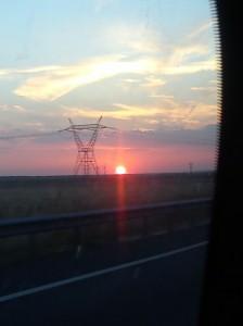 Puesta de sol desde el tren