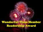 wonderfull team member readership award