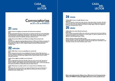Convocatorias del 20 al 26 de marzo en CASA DEL LECTOR