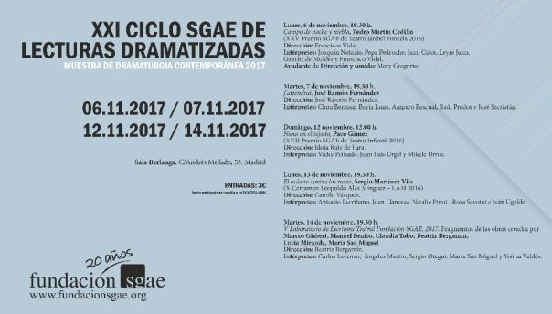 XXI Lecturas Sala Berlanga Cartelera Madrid 2017