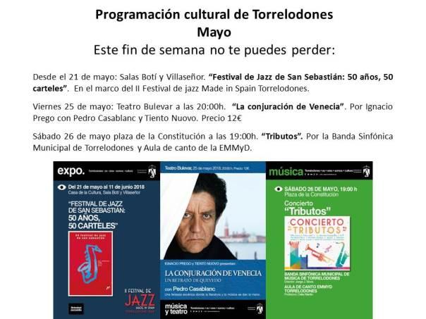 Programación cultural Torrelodones fin de semana 25- 27 de mayo 2018
